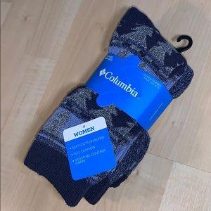 COLUMBIA 2 Pairs Cotton Blend Winter Crew Socks